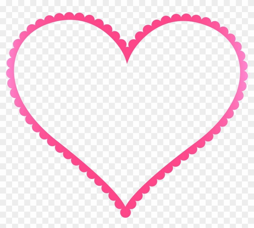 Pink Heart Border Frame Transparent Png Clip Art - Heart Border Png #108366