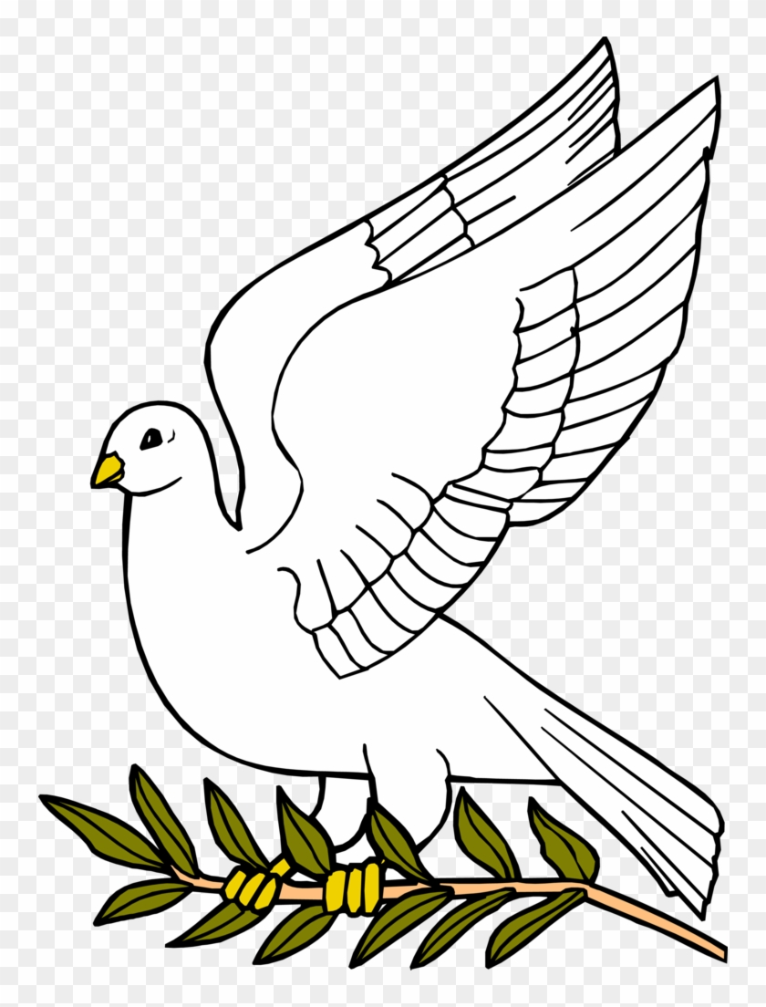 Descending Dove Clipart - Dove With Olive Leaf #108879
