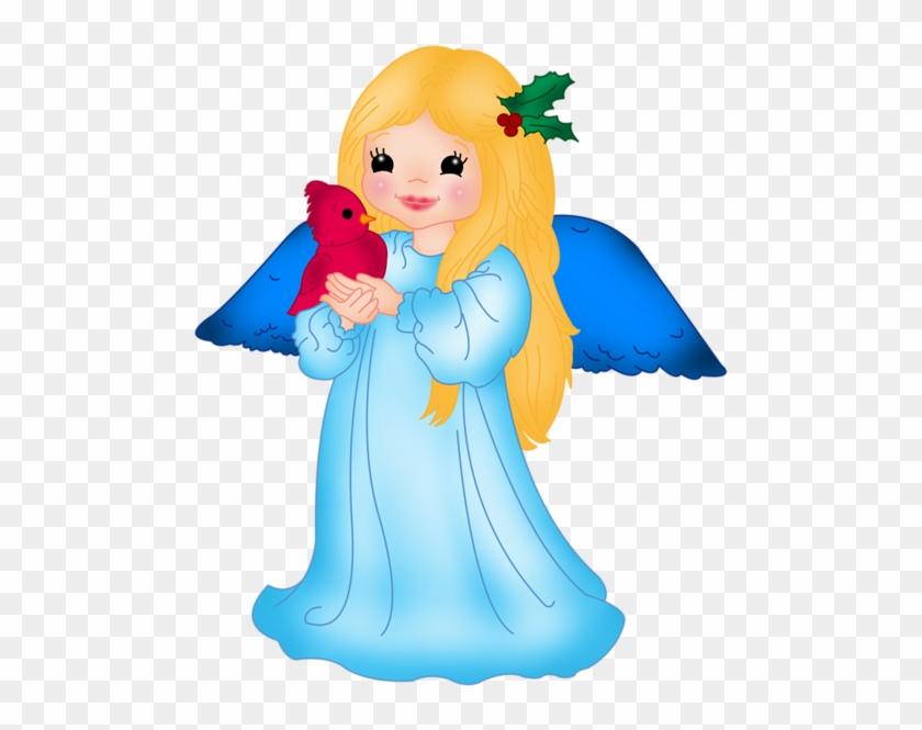 Blue Little Angel With Bird Png Clipart - Art #110780