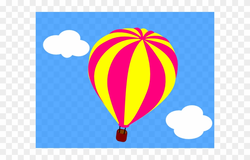 Hot Air Balloon In The Sky With Clouds Clip Art - Hot Air Balloon In The Sky Clipart #111958