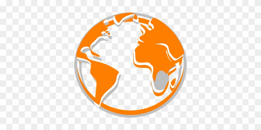 Globe Orange World Planet Earth Internatio - Grey And Orange Globe #593279