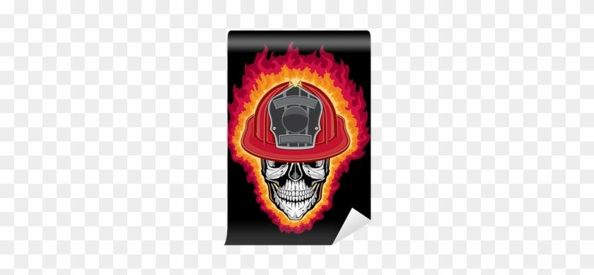 Flaming Firefighter Skull And Helmet Wall Mural • Pixers® - Firefighter #596472
