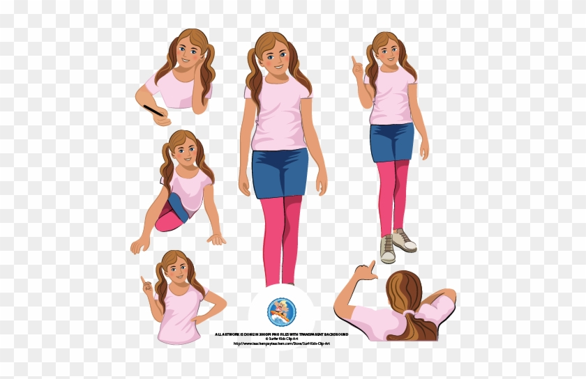 A Set Of Middle School Kids, Round About Grade - Middle School Girl Clip Art #597258