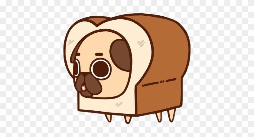 Pug Bread Breadpug Cute Doodle Brown Freetoedit - Cartoon Pugs #598424