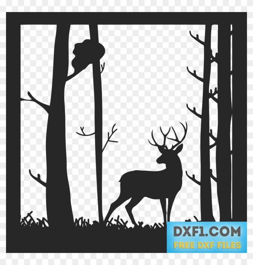 Deer In The Forest Landscape Vector Dxf Svg - Stencil Cutting Of