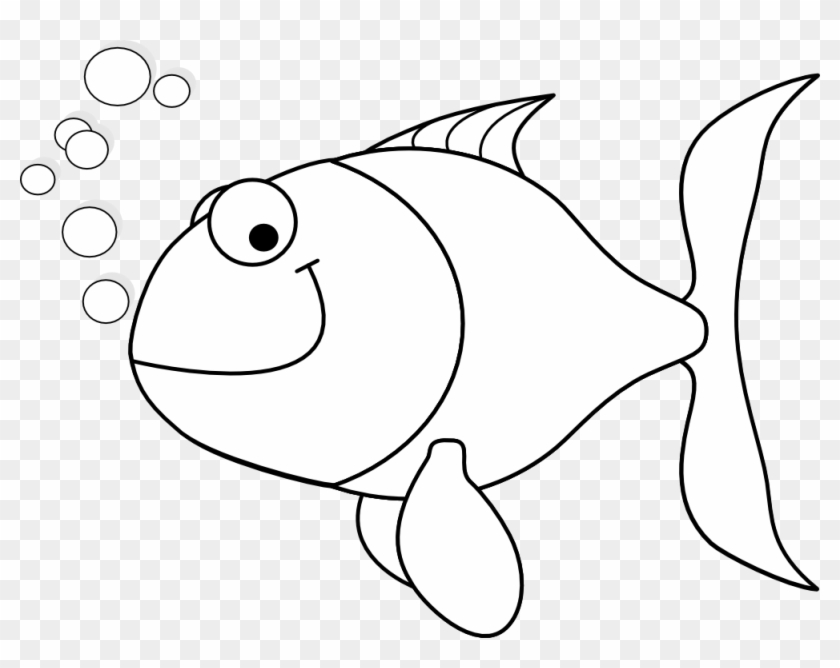 Tropical Fish Clipart Happy Fish - Outline Of Fish #599461