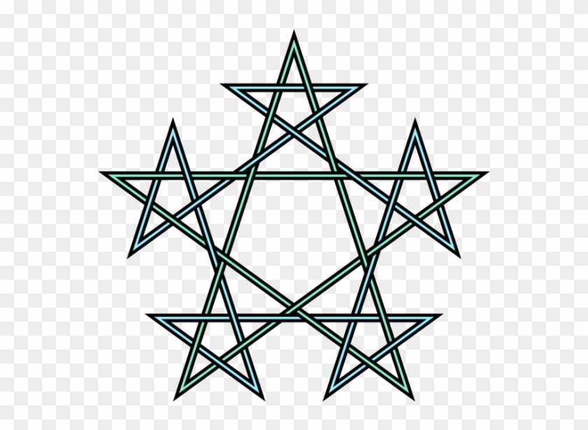 Pentagrams Interlaced Pattern - Geometric Pentagram Tattoo #599971