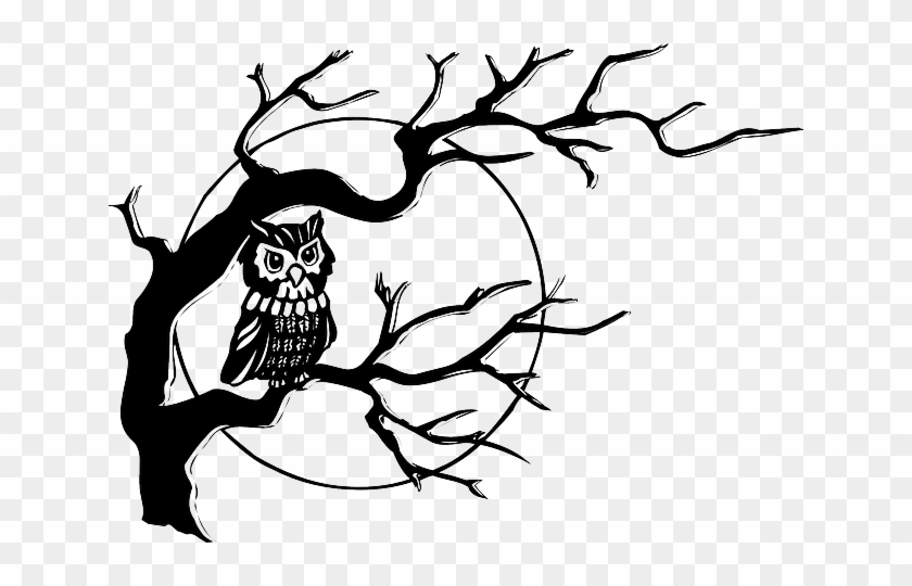 Baby, Dead, Tribal, Moon, Drawn, Sketch - Owl On A Tree Drawing #601493