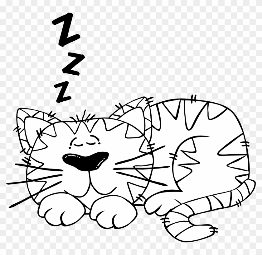 The Christmas Y Atmosphere In The House And All Around, - Cat Sleeping Black And White Clipart #602710