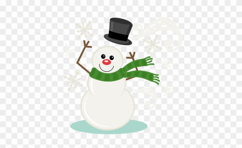 Windy Snowman Svg Scrapbook Title Winter Svg Cut File - Snowman Svg File Free #602958