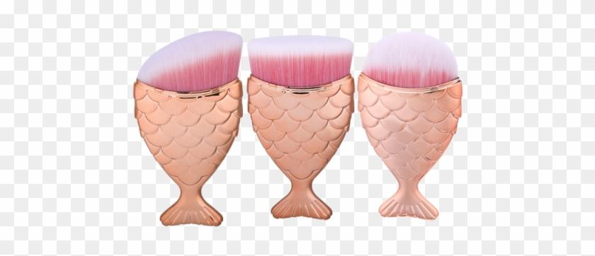 3 Pièces Ensemble De Pinceaux À Maquillage À Manches - Gearbest 3pcs Wide Mermaid Handle Makeup Brushes Set #606976