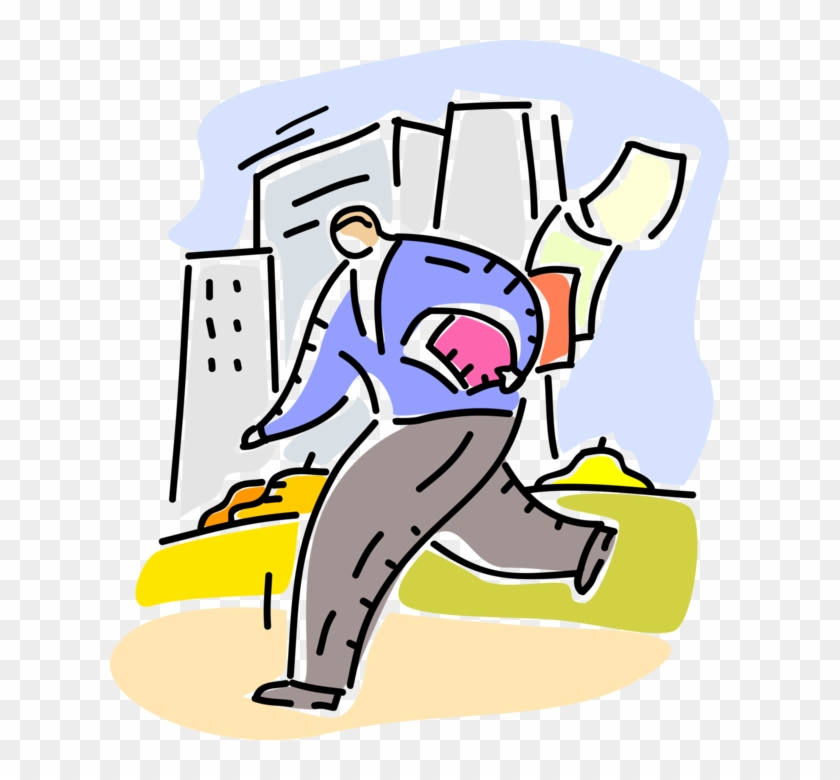 Vector Illustration Of Businessman Running Late Loses Vector