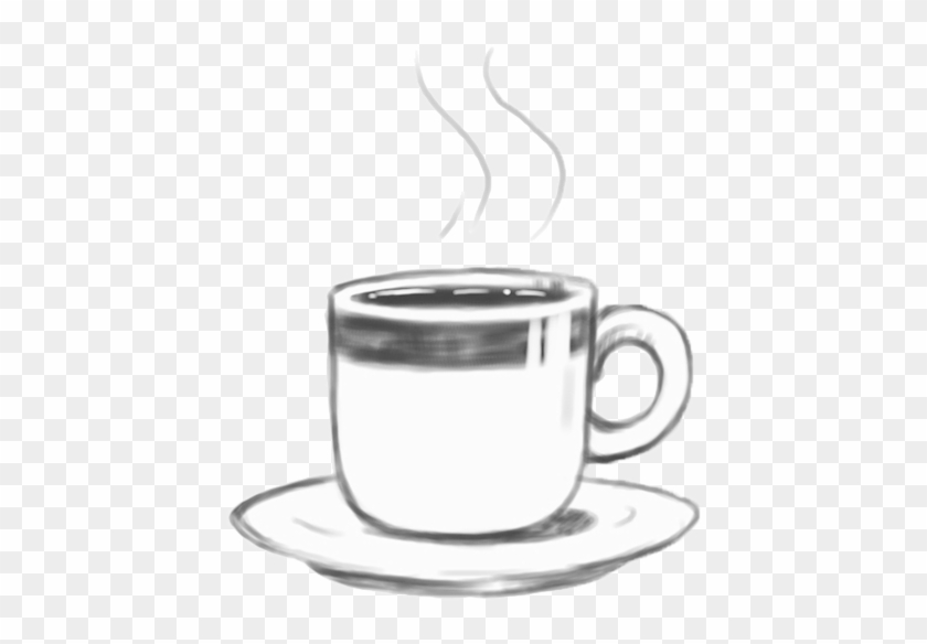 Coffee And A Blank Page - Hot Coffee Clipart Black And White - Free