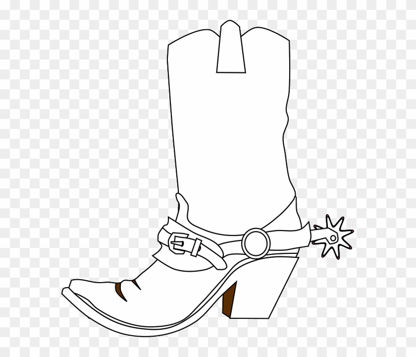 Cowboy Boots, Spurs, Boots, Western Boots, Bronco Boots - Western Clip Art Black And White Free #611222