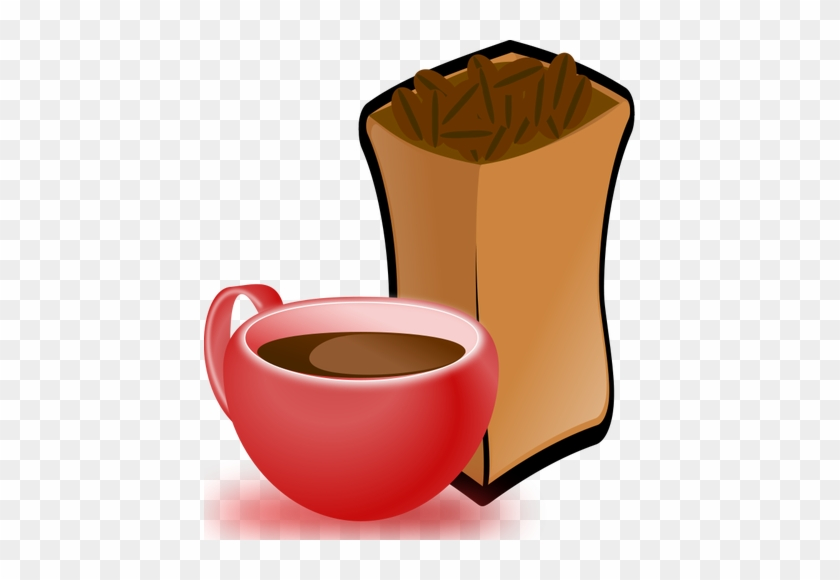 Vector Image Of Red Cup Of Coffee With Sack Of Coffee - Coffee Beans Clip Art #611323