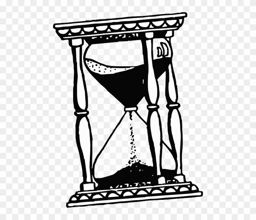Sand Glass Drawing Cartoon Time Free Hour Clock
