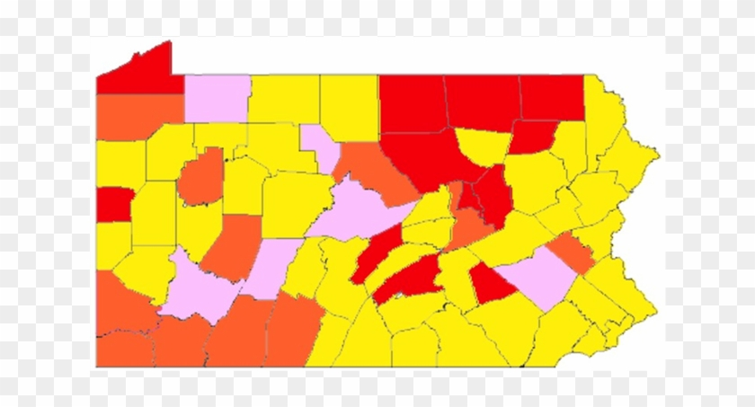 Map Of Pennsylvania Counties Coloured To Show Risk - Atlas #612281