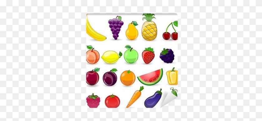 Fotomural Frutas Y Verduras De Dibujos Animados Pixers