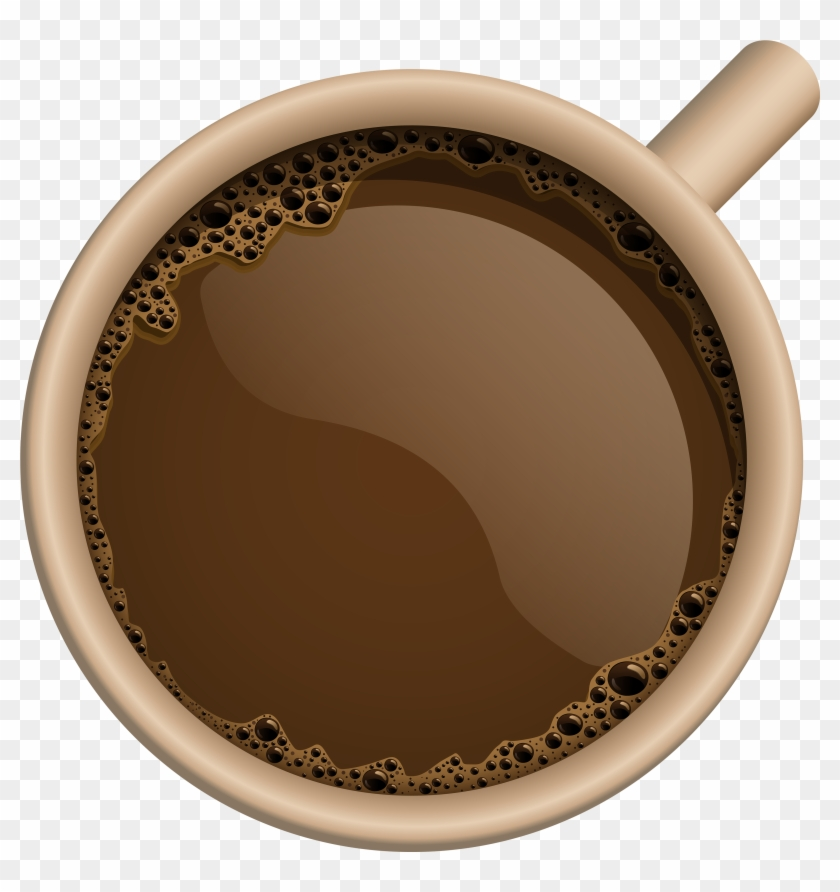 Perfect Coffee Mug With Top View Cup And Beans On Wooden - Coffee Cup Png Top #614482