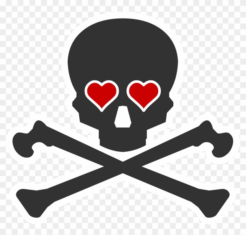 Creative Death Clip Art Medium Size - Skull And Crossbones Heart #614819