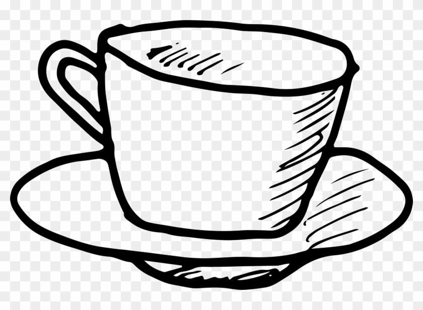 Coffee Cup And Saucer Outline Rubber Stamp - Coffee Cup Outline Png #615837