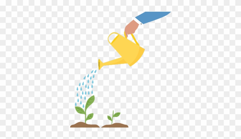 Hand Holding Watering Can, Pouring Water On Small Plants - Watering Can Plant Png #617017