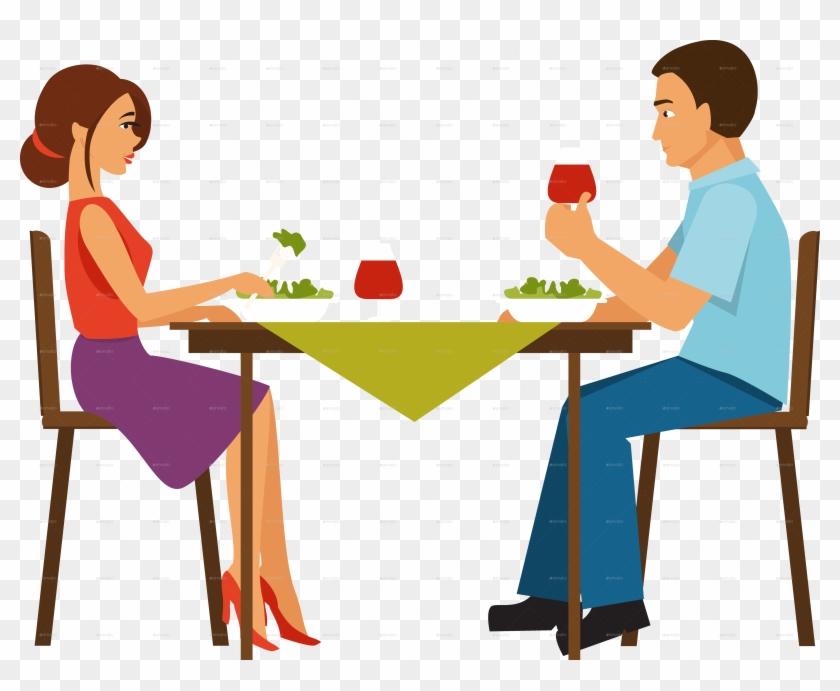 Eps Vector Of Dinner Dinner - Dinner Couple Clipart #619434