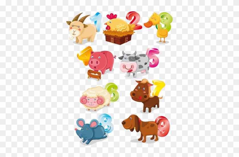 Animals And Numbers Kids Sticker - Farmland Wall Sticker - Farmer's Farm House #620575