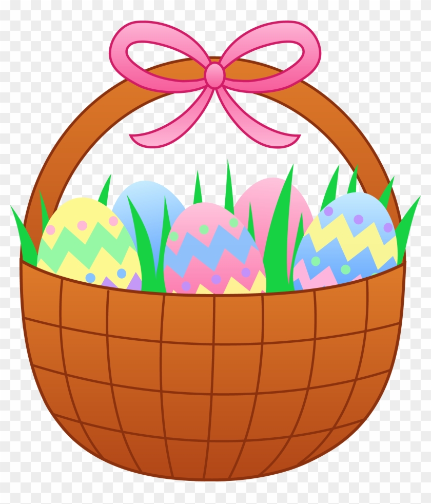 Clipart Of Basket, Eggs And Easter - Easter Basket Of Eggs #622374