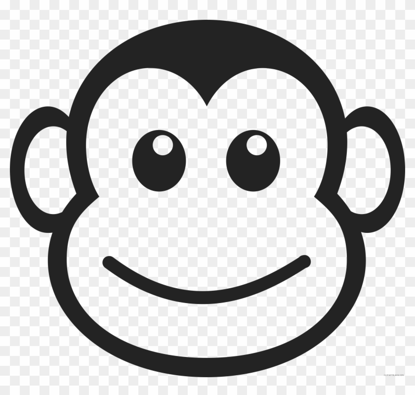 Monkey Face Animal Free Black White Clipart Images ...