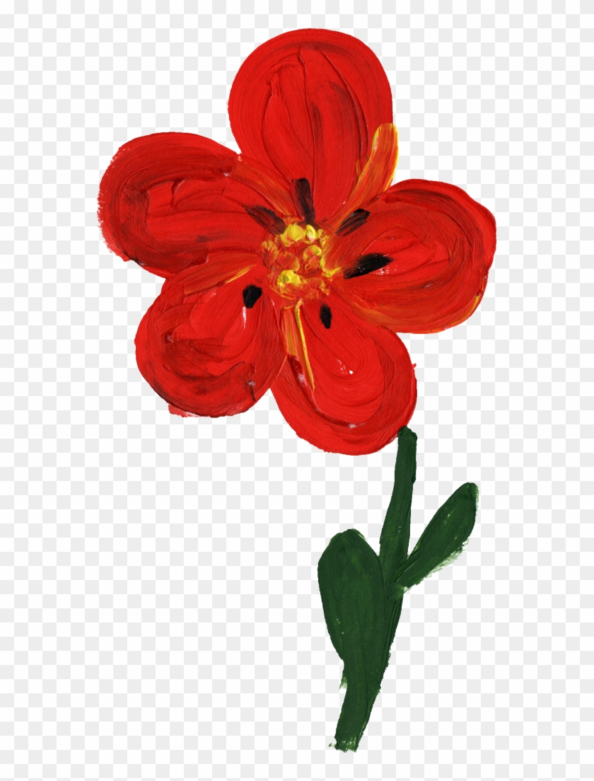 1002 1322 Px Red Flower Painting Simple Free Transparent Png Clipart Images Download