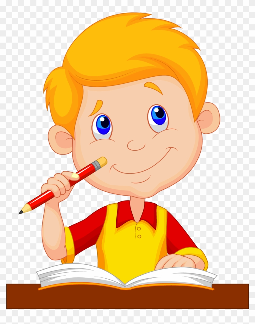 Cartoon Drawing Child - Cartoon Picture Of A Boy Studying #629107