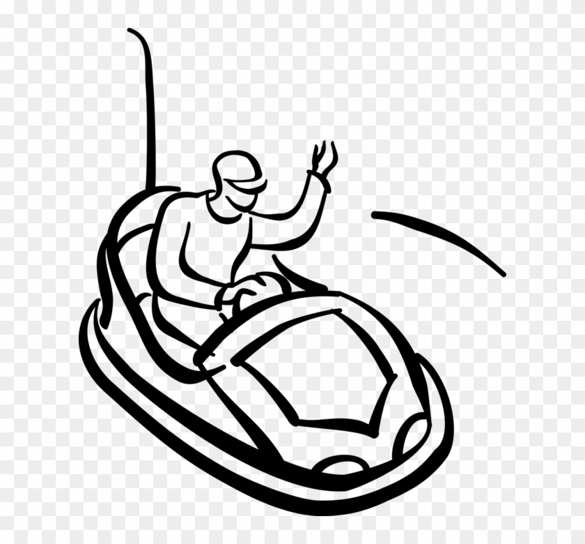 Vector Illustration Of Riding Bumper Car In Theme Park
