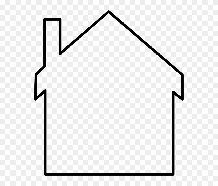 Home, Outline, White, Shapes, Lines, Chimney - House Outline Png #631361