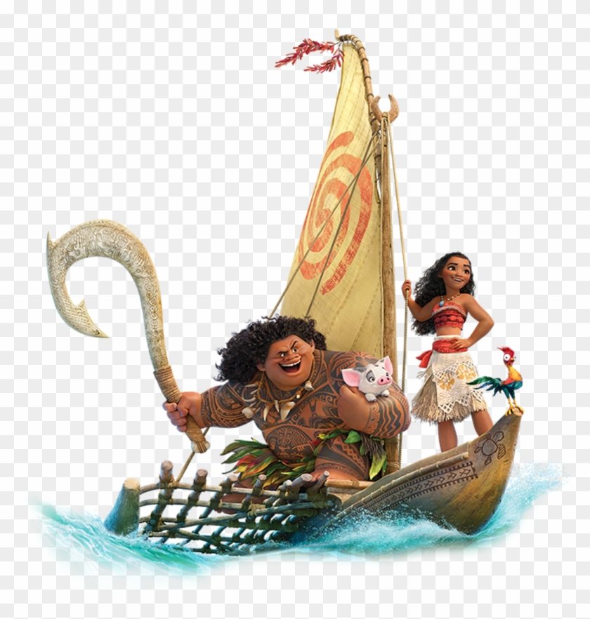 Moana E Amigos Moana And Maui On Boat Free Transparent Png Clipart Images Download