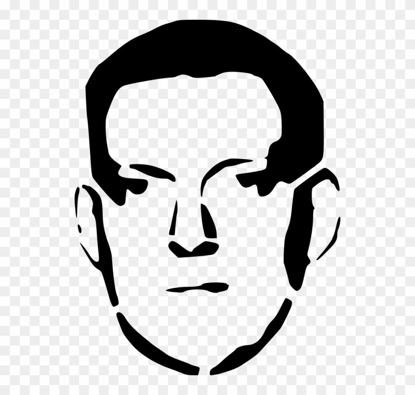 Flower Stencil Outline 25, - Man Face Outline #632483