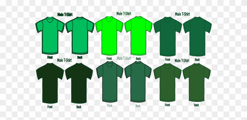 Six Green T Shirts Clip Art At Clkercom Vector Online - Dark Green Plain Shirt Front And Back #633309