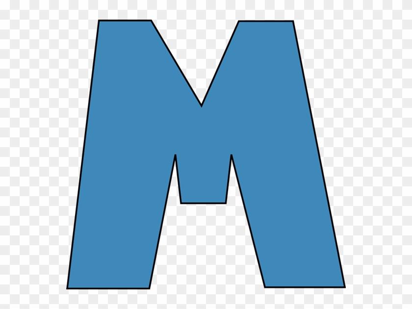 Blue Alphabet Letter M Clip Art - Blue Alphabet Letter M #112444