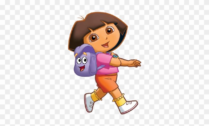 Dora And Happy School Bag Walking To School - Dora The Explorer #114392