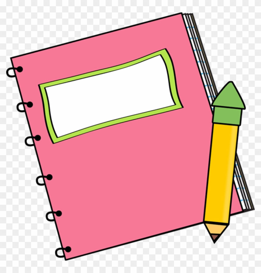 Paper Back School Clipart Pink - Clip Art Notebook And Pencil #114507