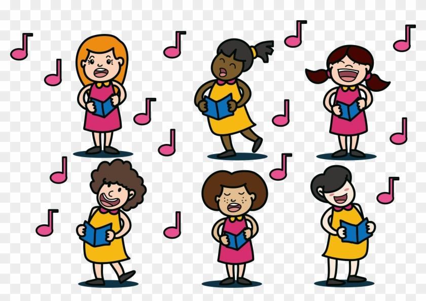 Choir Singing Clip Art - Desenho Coral De Mulheres Cantando #115483