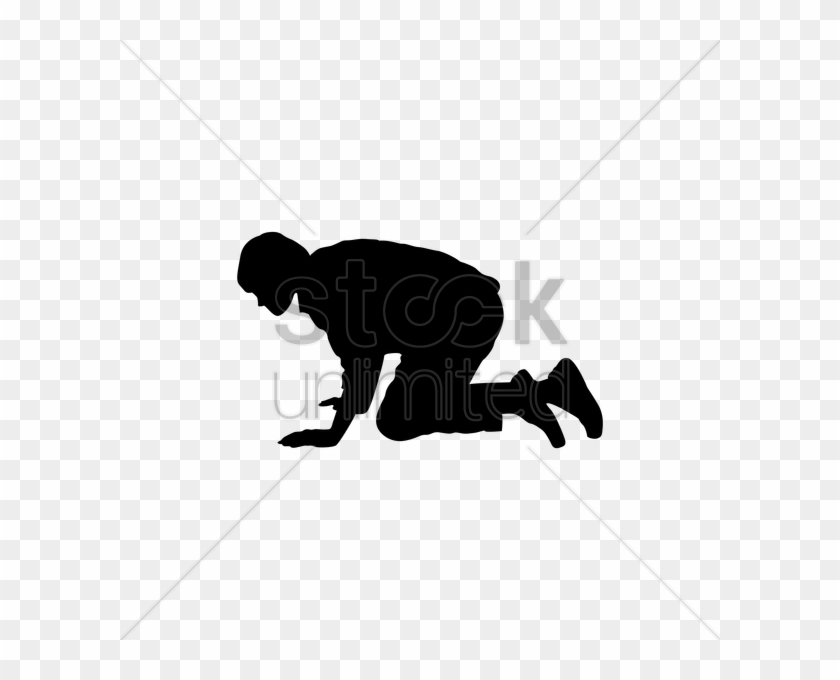 Silhouette Of Man Crawling Clipart - Crawling Man Clipart #115645