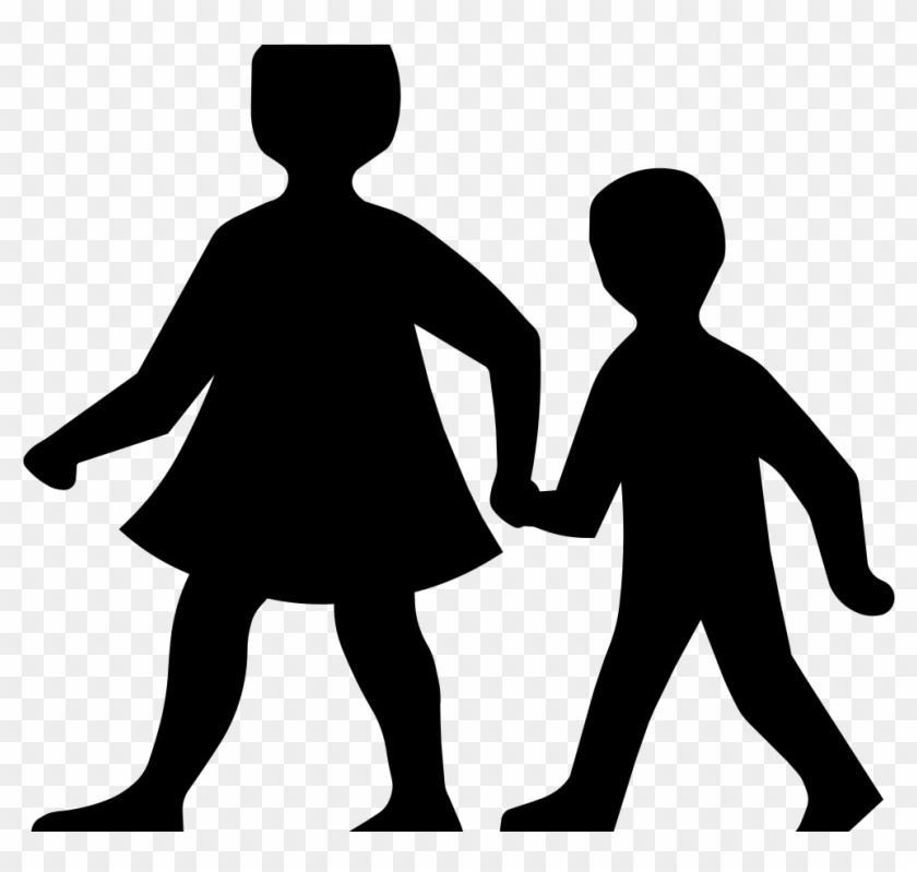 7755 Hand Clip Art Outline Holding Hands Public Domain - Children Silhouette Clip Art #115648