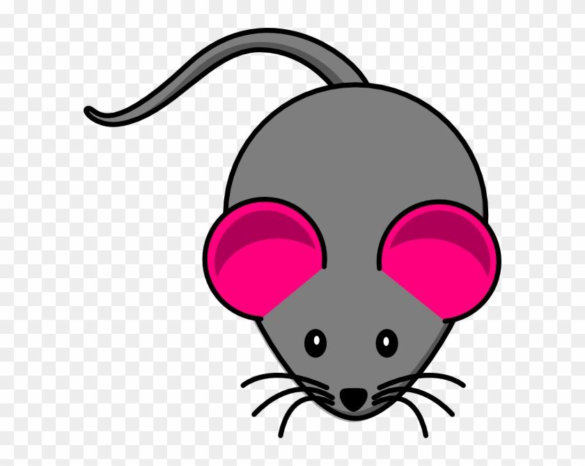 Pink Ear Gray Mouse Clip Art - Cartoon Mouse #115892