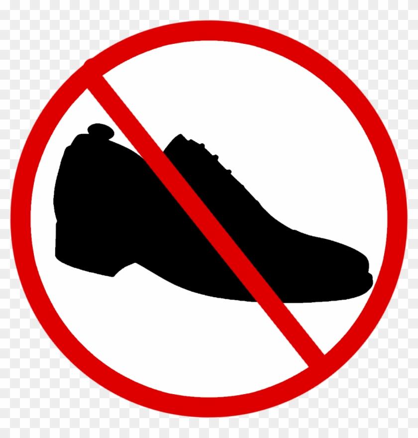 No Homework Clipart - Shoe Not Allowed Sign #116578