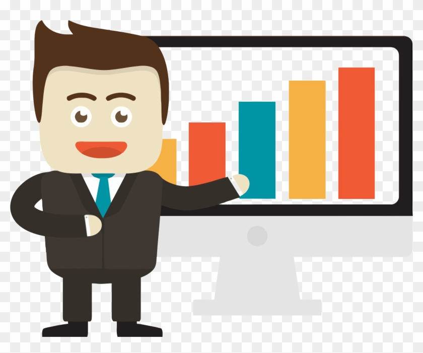 Businessman Pointing To Graph On Monitor Clipart Images - Businessman Clipart #118940