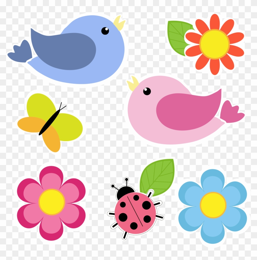 Clipart Birds Butterfly Ladybug And Flowers No Background - Flowers And Birds Clip Art #118957