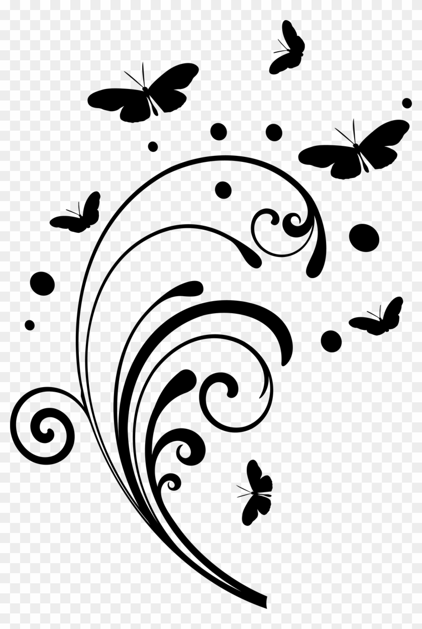 Butterfly And Swirl Clipart - Black Swirls Png #119382