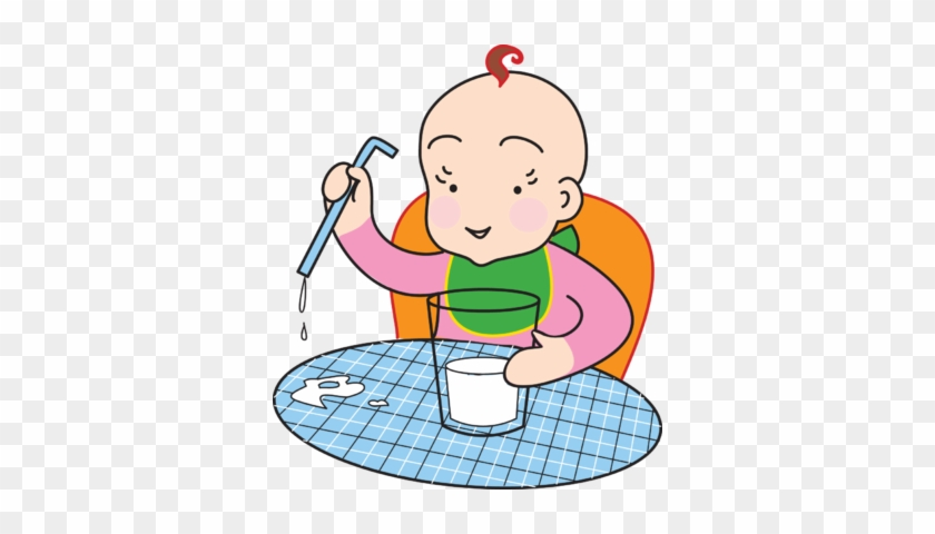 Clipart Of Baby Drinking Milk Image With Glass Clip - Drinking Milk Clipart Free #119659