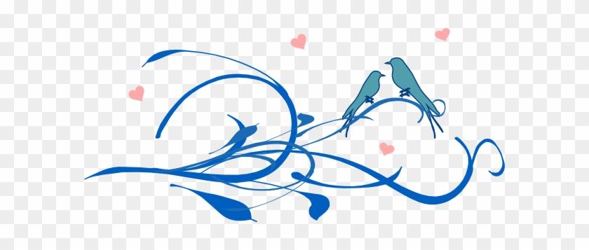 Blue Love Birds On A Branch Clip Art - Flowers And Birds Heart Wall Art Sticker Decal, Black, #119773